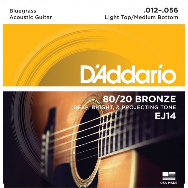 Encordoamento Violão Daddario 6 Cordas (.012-.056) - Light Top/ Medium Bottom - (EJ14) - (80/20 Bronze)
