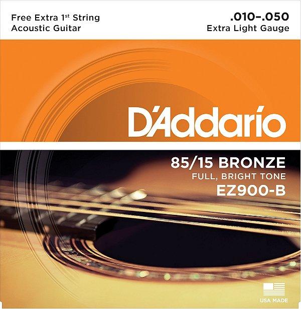 Encordoamento Violão Daddario 6 Cordas (.010-.050) - Extra Light Gauge - (EZ900-B) - (80/15 Bronze) - CORDA MI EXTRA