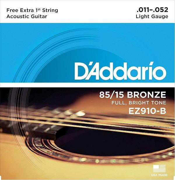 Encordoamento Violão Daddario 6 Cordas (.011-.052) - Light Gauge - (EZ910-B) - (80/15 Bronze) - CORDA MI EXTRA