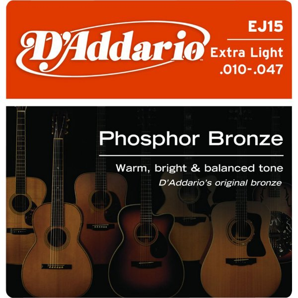 Encordoamento Violão Daddario 010-.047 Extra Light Gauge EJ15 PHOSPHOR BRONZE