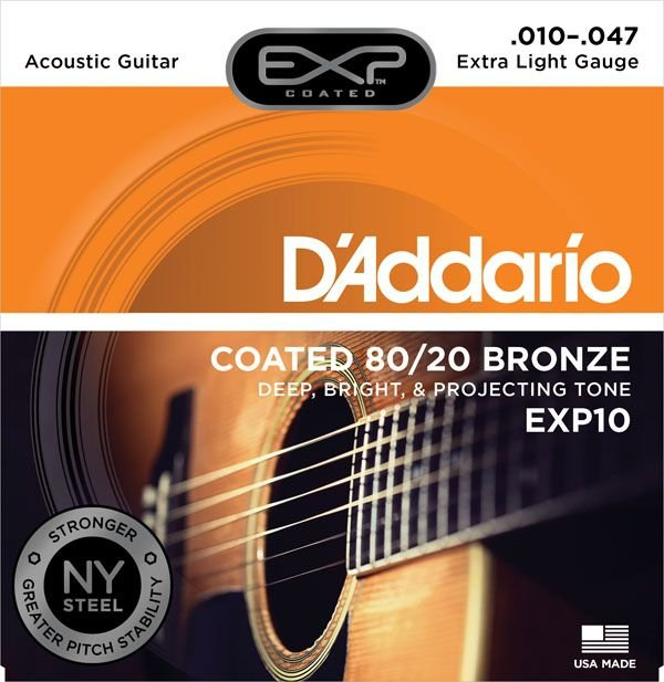 Encordoamento Violão Daddario 010-047 Extra Light Gauge EXP10 COATED 80/20 Bronze