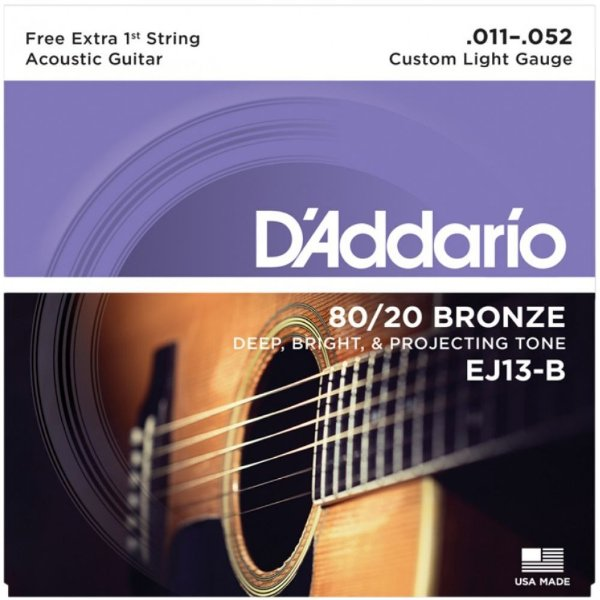 Encordoamento Violão Daddario 6 Cordas (.011 - .052) - Custom Light Gauge - (EJ13-B) - (80/20 Bronze) - CORDA MI EXTRA