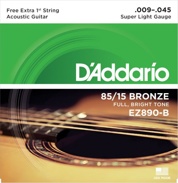 Encordoamento Violão Daddario 009-045 Super Light Gauge EZ890-B 80/15 Bronze CORDA MI EXTRA