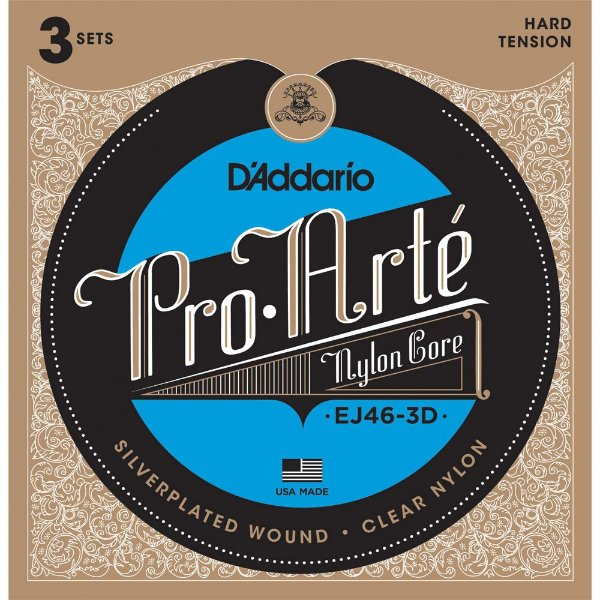 Encordoamento Violão Daddario 6 Cordas NYLON (HARD TENSION) EJ46-3D - Pack com 3