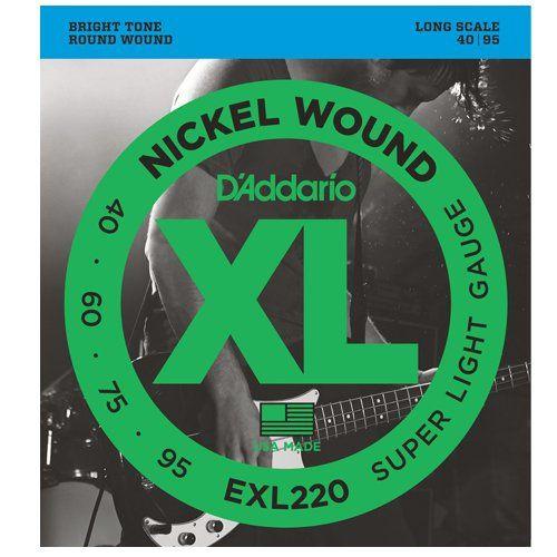 Encordoamento Daddario Contrabaixo 4 Cordas 040-095 - Super Light - EXL220 - Long Scale