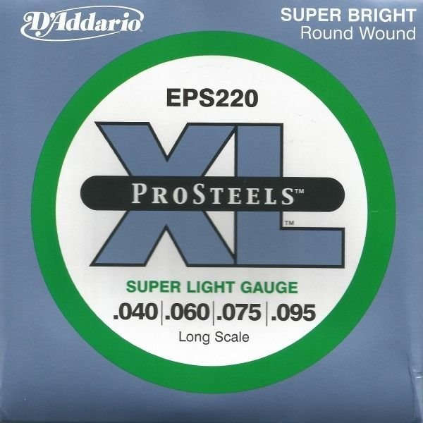 Encordoamento Daddario ProStells Baixo 4 Cordas (.040-.095) - Super Light - EPS220 - Long Scale