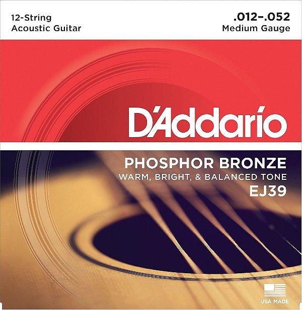 Encordoamento Violão 12 Cordas Daddario EJ39 Phosphor Bronze