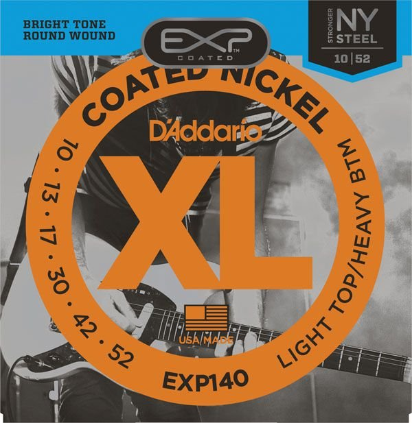 Encordoamento Guitarra  Daddario 010-052  Light Top/Heavy EXP140 Coated Nickel