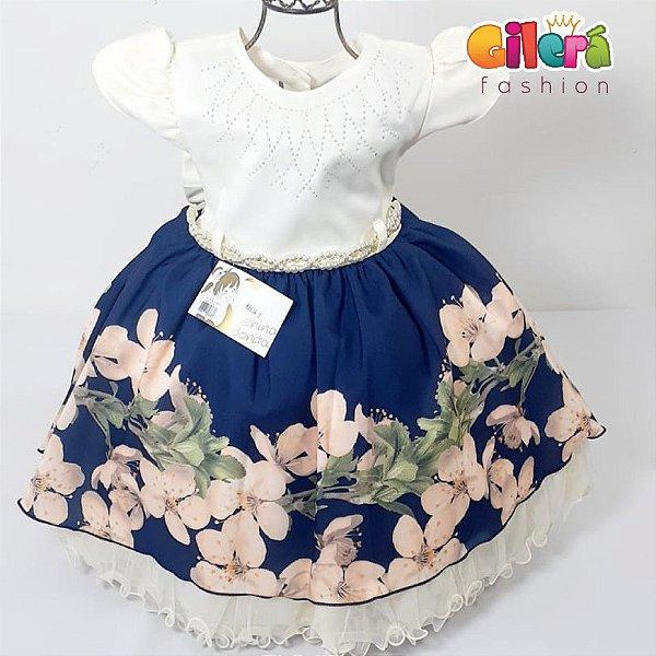 Vestido Infantil Festa Off White e Azul Marinho Floral