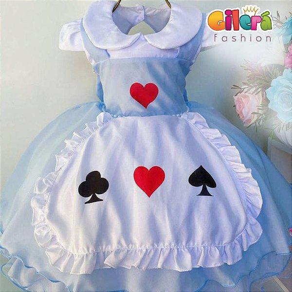 Vestido Infantil de Festa  Alice no País das Maravilhas