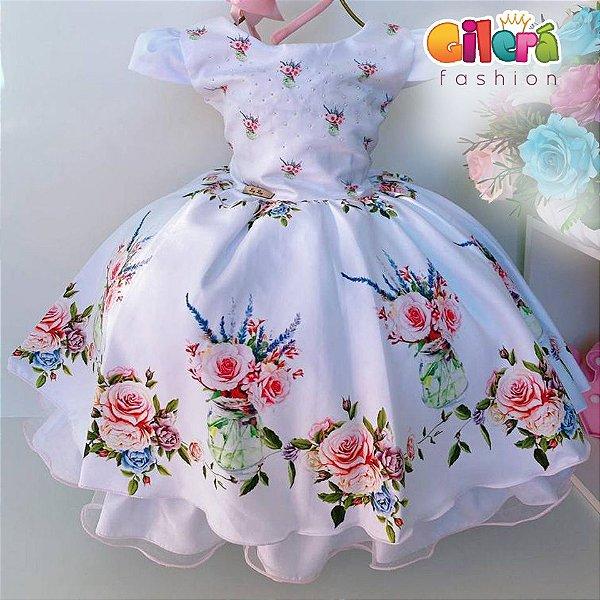 Vestido Infantil Festa Princesa Branco Floral