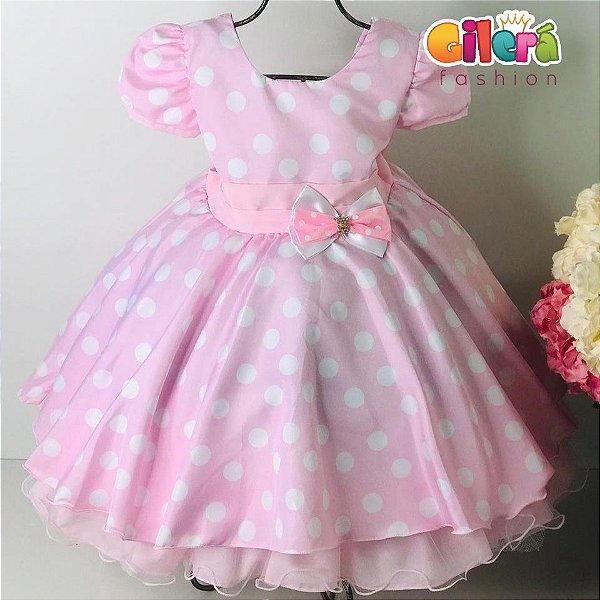 Vestido Infantil de Festa Fantasia Aniversário Minnie Rosa