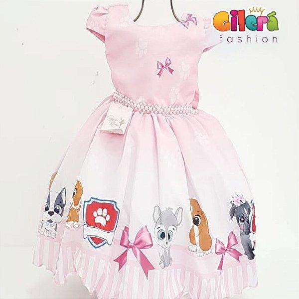 Vestido Infantil de Festa Aniversário Fantasia Patrulha Canina Rosa Vestido para Crianças Meninas