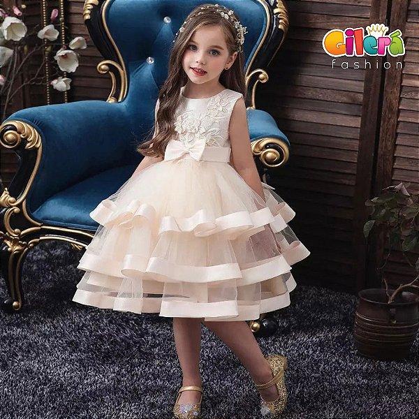 Vestido Infantil Importado de Luxo para Festa Cor Champagne (champanhe)