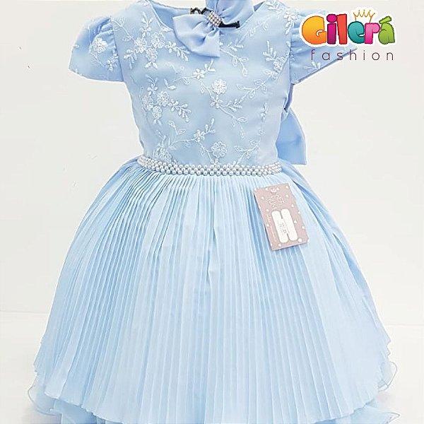 Vestido Infantil Festa Aniversário Azul Saia Plissada