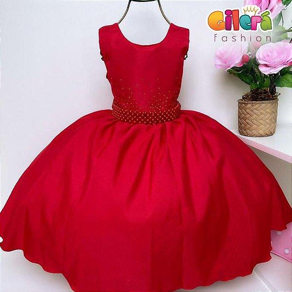 Vestido Infantil Festa Aniversário Vermelho