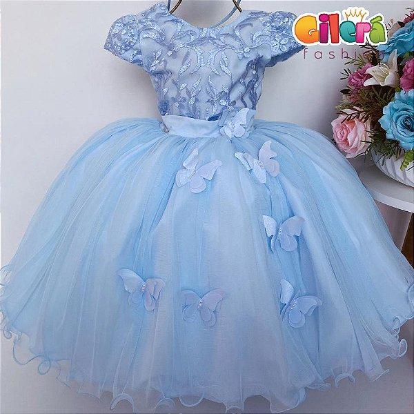 Vestido Infantil Festa Aniversário Azul Renda Borboletas