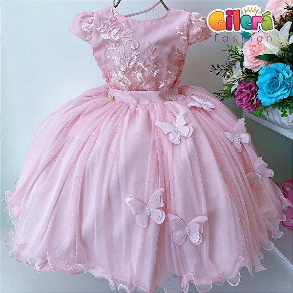 Vestido Infantil Festa Aniversário Rosa Renda Borboletas