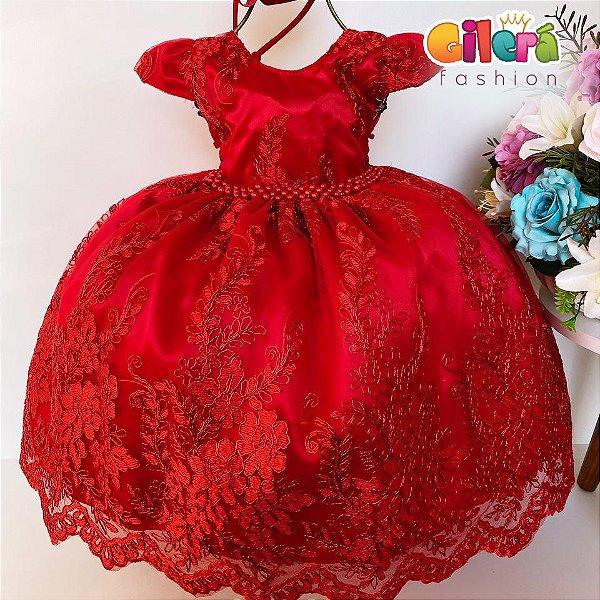 Vestido Infantil Festa Luxo Realeza Vermelho Renda