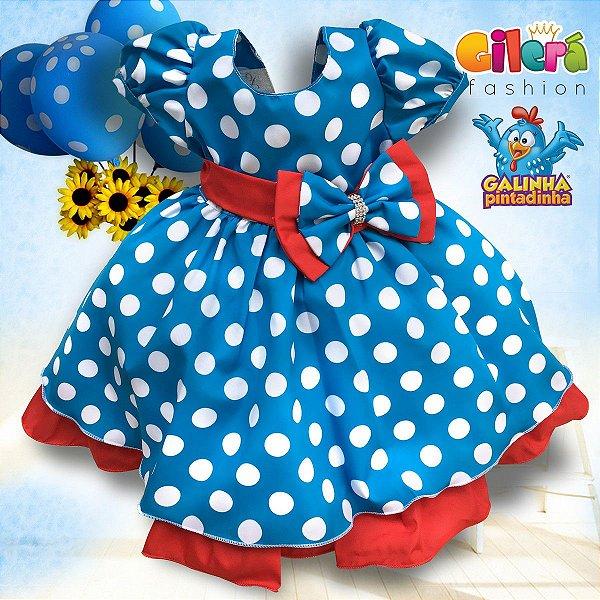 Vestido Infantil de Festa Tema Galinha Pintadinha