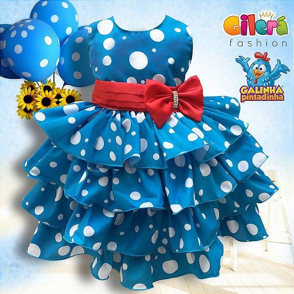 Vestido Infantil para Festa Tema Galinha Pintadinha