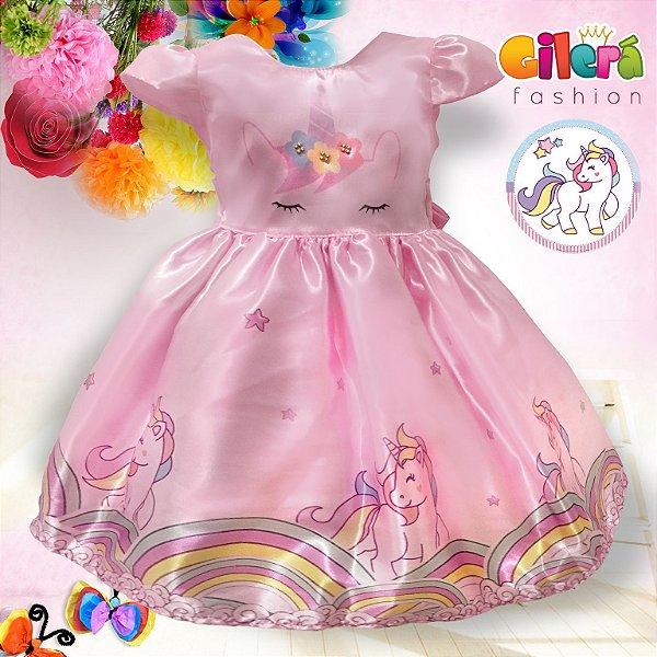 Vestido Unicórnio Infantil de Festa