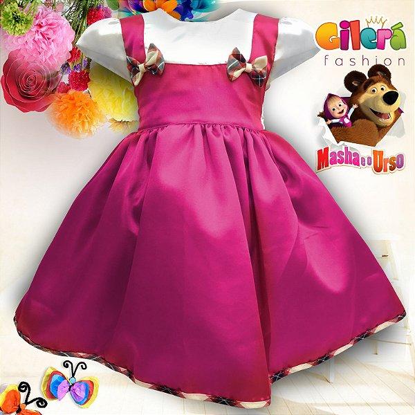 Vestido Infantil de Festa Tema Masha e o Urso