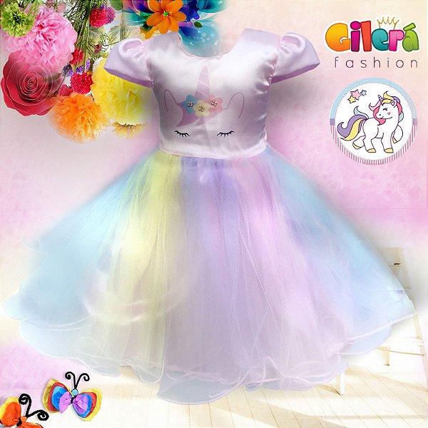 Vestido Infantil de Festa Tema Unicórnio