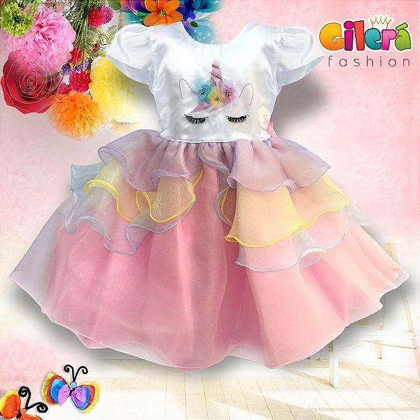Vestido Infantil de Festa Tema Unicórnio Colorido