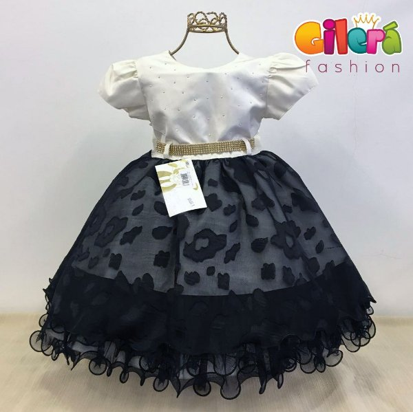 Vestido Infantil de Festa Luxo Creme e Preto