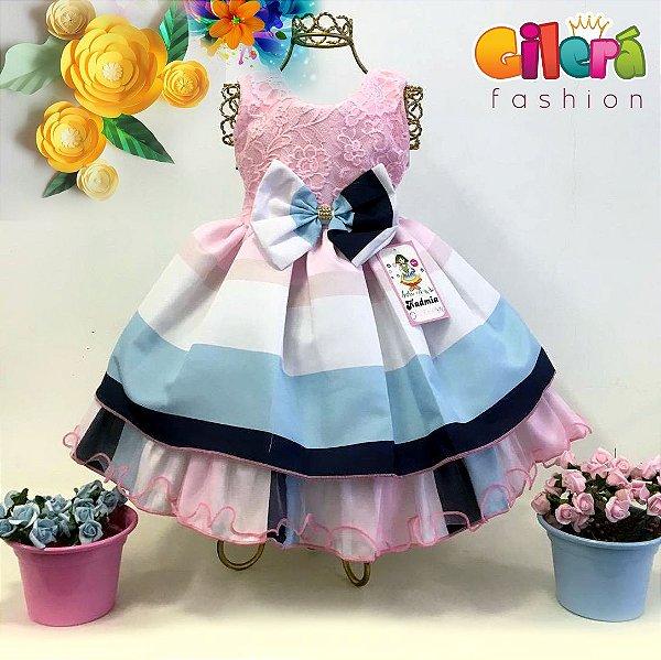 Vestido Infantil de Festa Luxo Rosa e Azul