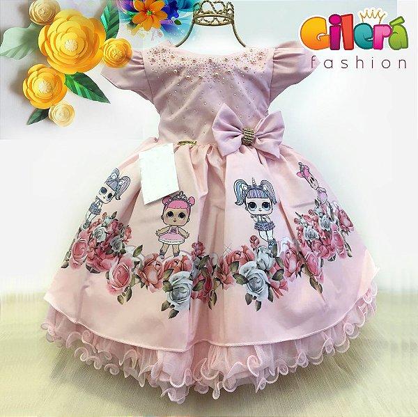34e7901d881 Vestido Infantil de Festa Luxo Tema LOL - Gilerá Fashion | Loja de ...