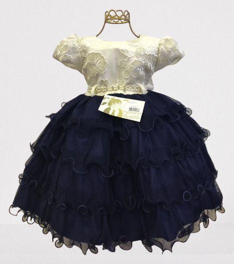 Vestido Infantil de Festa Luxo Azul Marinho e Creme