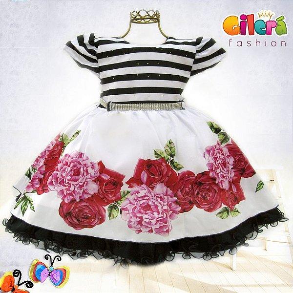 Vestido Infantil de Festa Luxo Listrado