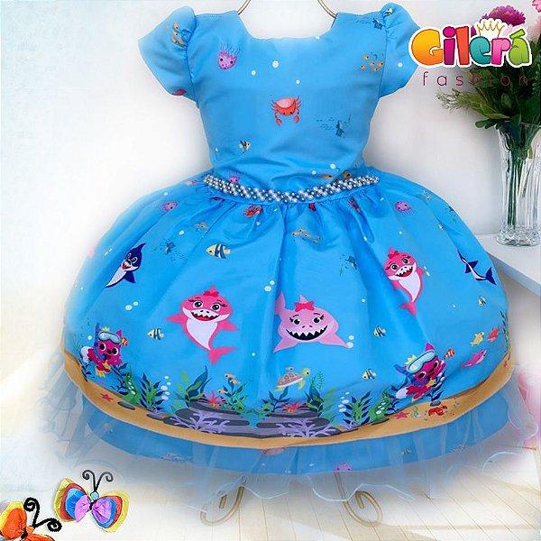 Vestido Infantil de Festa Tema Baby Shark Azul