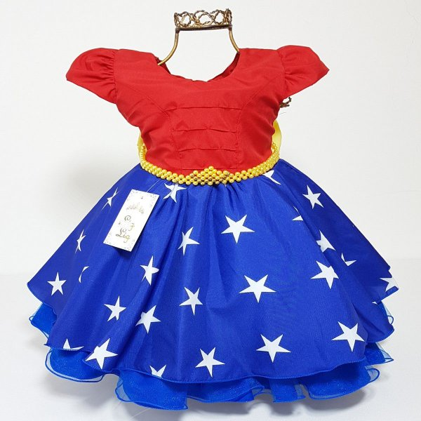 Vestido Infantil de Festa Tema Mulher Maravilha