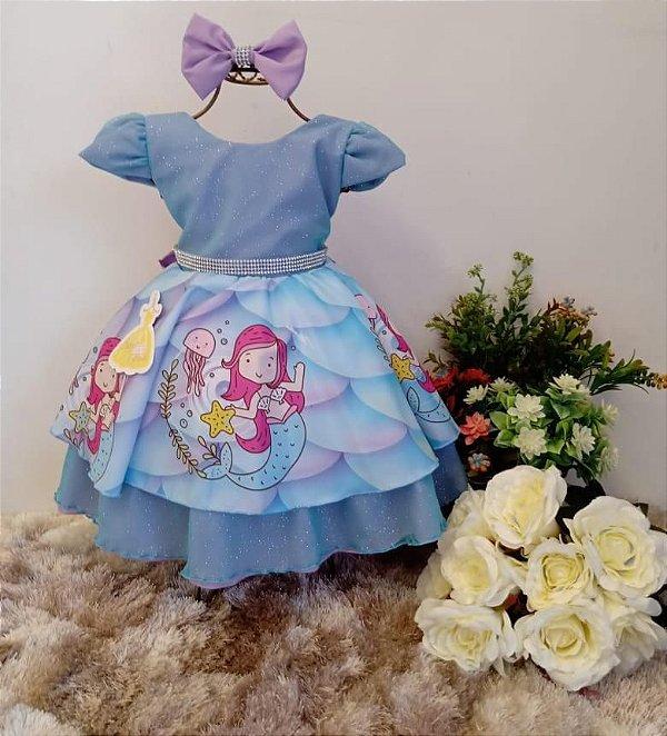 Vestido Infantil Pequena Sereia Laço
