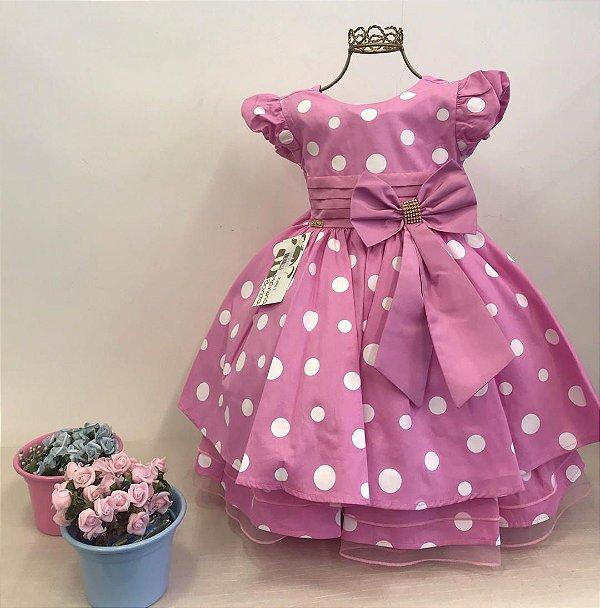 Vestido Infantil de Luxo Tema Minnie Rosa