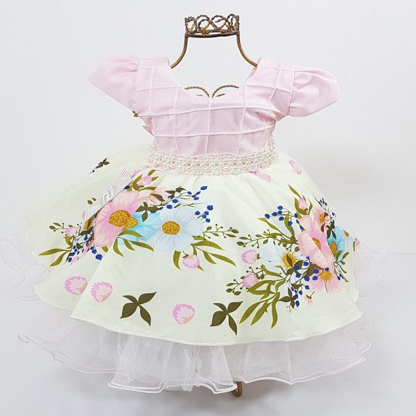 Vestido Infantil Festa Floral Rosa