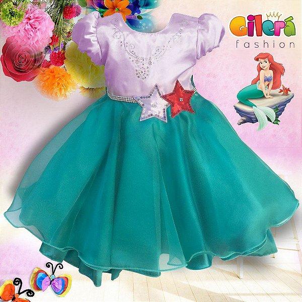 Vestido Infantil Pequena Sereia com 6 Peças - Atacado
