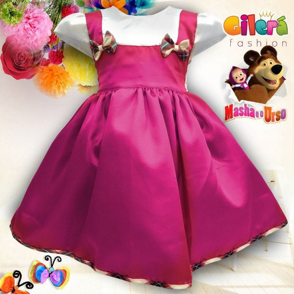 Vestido Infantil de Festa Tema Masha e o Urso com 6 Peças - Atacado