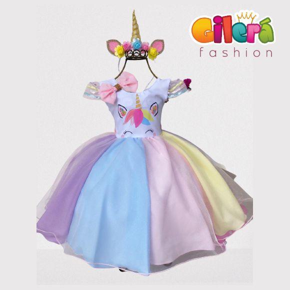Vestido Infantil de Festa Unicórnio