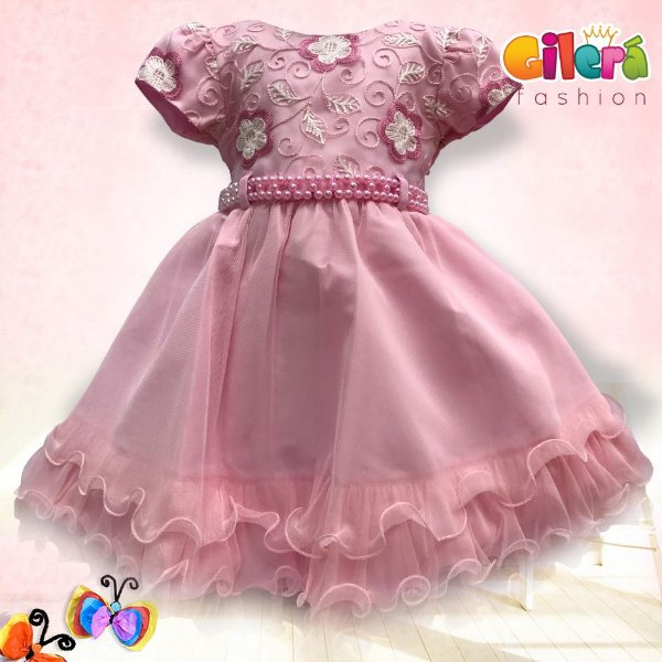 Vestido Infantil de Luxo Bordado Rosa