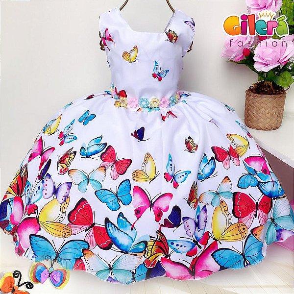 Vestido Infantil Jardim das Borboletas Branco de Festa