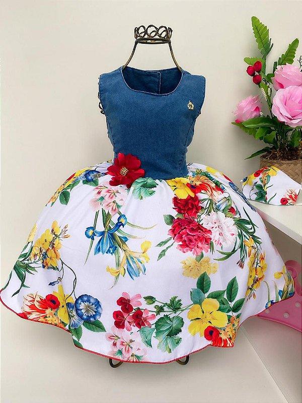Vestido Infantil Jeans Floral Jardim das Flores