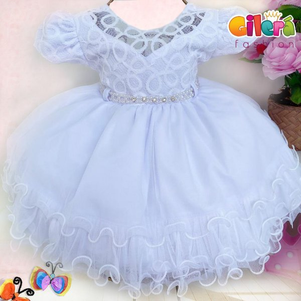 Vestido Infantil de Luxo Branco para Festas Daminha Batizados