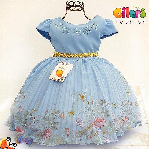 Vestido Infantil de Festa Tema Jardim Encantado Azul