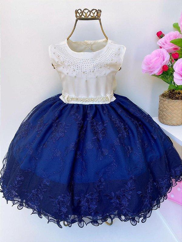 Vestido Infantil Luxo Azul Marinho e Off White