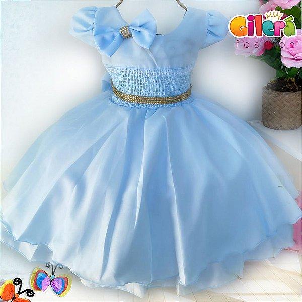 Vestido Infantil de Festa Cinderela Azul Claro