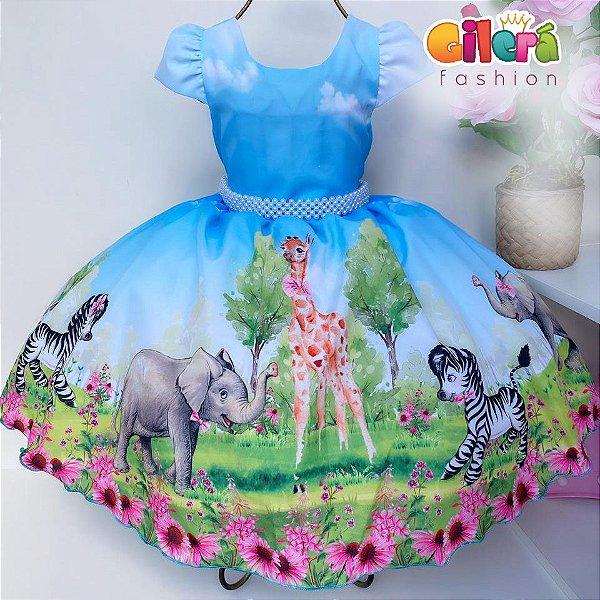 Vestido Infantil de Festa Tema Safari